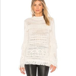 BB Dakota Baker Fringe Bell Sleeve Sweater, Small